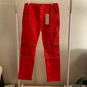 Coofandy Red Distressed Straight Fit Jeans 35/31